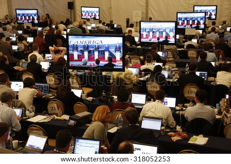 September 16, 2015, Media filing room during the Republican presidential debate at the Ronald Reagan Presidential Library in Simi Valley, California, U.S. - stock photo