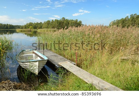 September's Swedish lake scenery - stock photo