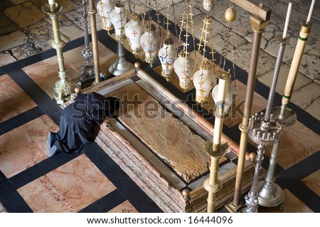 Sepulchre of Jesus Christ in the church of the holy sepulchre, Jerusalem - stock photo