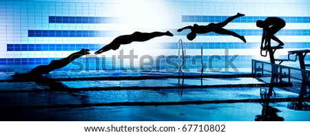 sequence black silhouettes of jumping swimmer from starting platform on swimming pool - stock photo