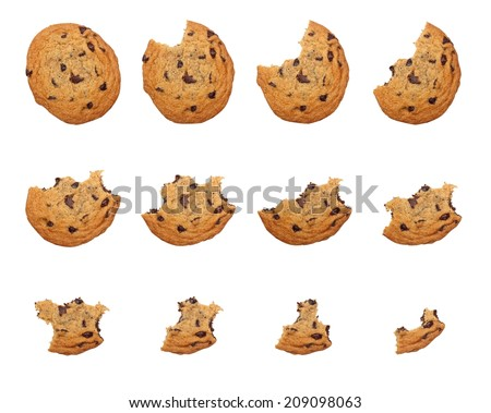 Sequence of bites taken off a cookie isolated on white background  - stock photo