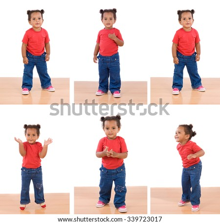 Sequence of photos of a little African girl isolated on a white background - stock photo