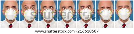 Sequence photos of a man wearing a protective mask  - stock photo