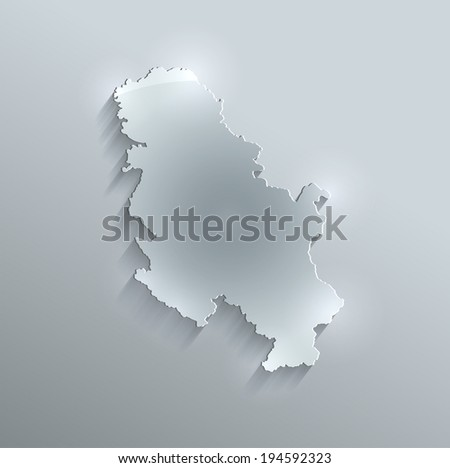 Serbia Arabia map glass card paper 3D raster - stock photo