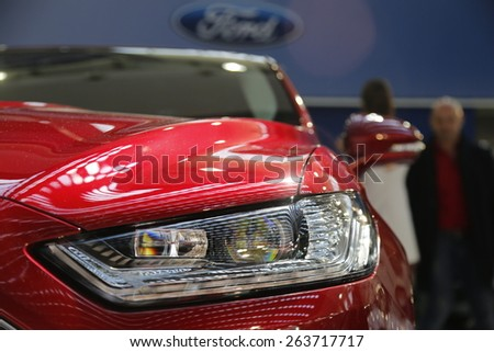 "Serbia, Belgrade - March 20, 2015: The ""52th International Belgrade car show"" car detail at the Belgrade car show on March 20, 2015 in Belgrade, Serbia. - stock photo"