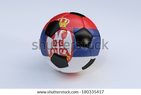 Serbia flag on soccer, football ball on white background - stock photo