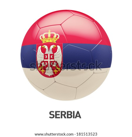 Serbia Flag Soccer Icon isolated on white background - stock photo