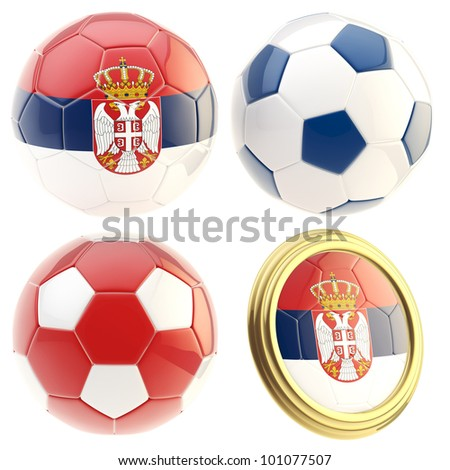 Serbia football team set of four soccer ball attributes isolated on white - stock photo
