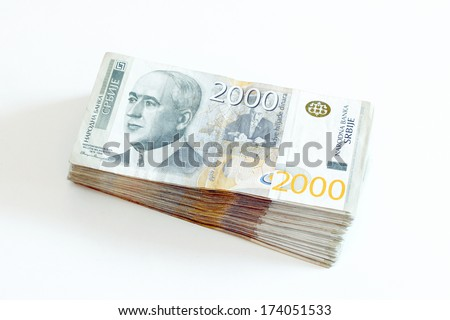 Serbian Currency - A Heap of 2000 Dinar Banknotes - stock photo