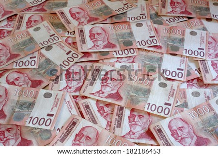Serbian Currency - A Heap of 1000 Dinar Banknotes - stock photo