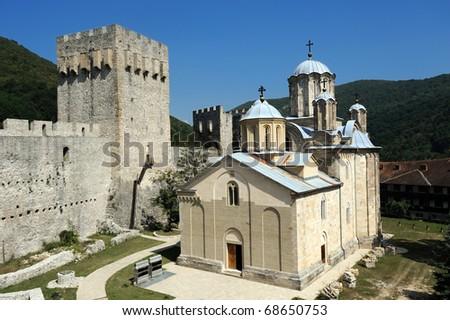Serbian orthodox Monastery Manasija, founded in 1406 - stock photo