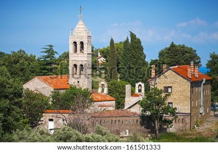 Serbian Orthodox Monastery of Rezevici, Adriatic Sea coast, Montenegro - stock photo