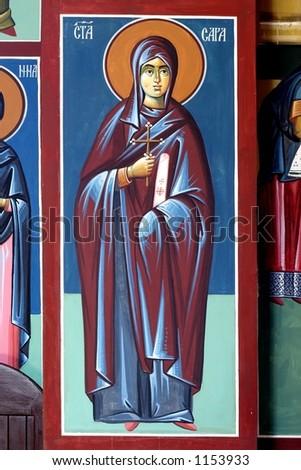 Serbian orthodox religious icon fresco - stock photo