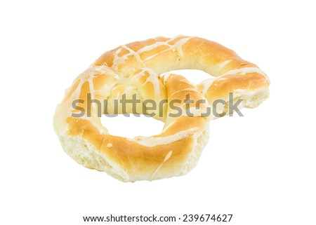 Serbian pretzel isolated on white background. With salt mixture on top. Selective focus. - stock photo