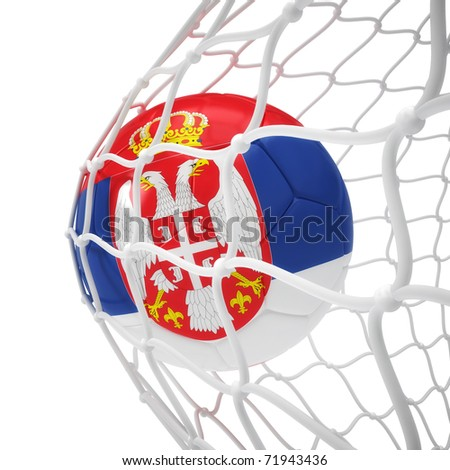 Serbian soccer ball inside the net isolated on white - stock photo