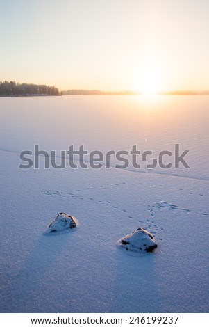 Serene winter morning view to frozen lake - stock photo