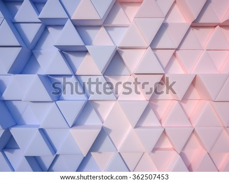 Serenity Blue and Rose Quartz  abstract 3d triangle background - stock photo