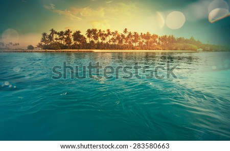 Serenity tropical beach,instagram filter - stock photo