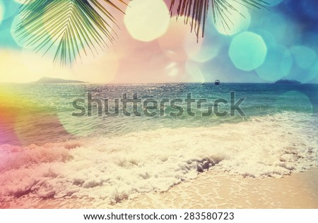 Serenity tropical beach,instagram filter - stock photo