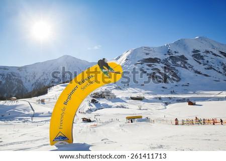 SERFAUS, AUSTRIA - JAN 07, 2015: Freestyle Beginner Circus in Serfaus-Fiss-Ladis ski region - stock photo