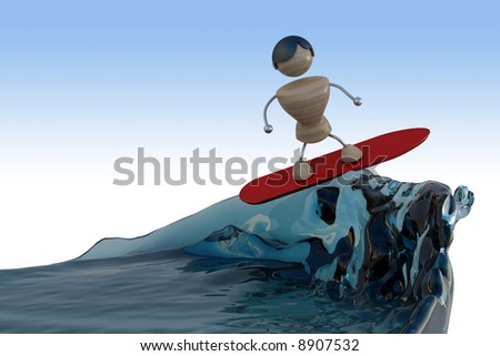 serfignist on the top of wave. - stock photo