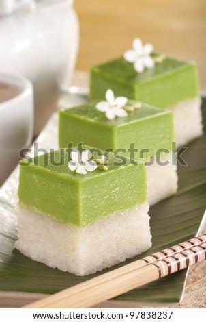 Seri Muka Kuih also known as the Pandan Custard Cake. Unsharpened file - stock photo