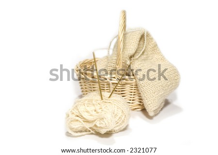 series: object on white: clew, knitting needle, basket - stock photo