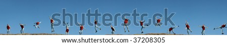 Series of a 15 times duplicated man in different positions (jumping, running,...) - stock photo