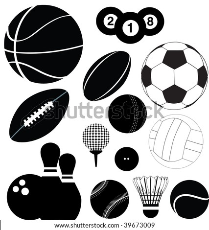 series of black illustrations of sports balls - stock photo