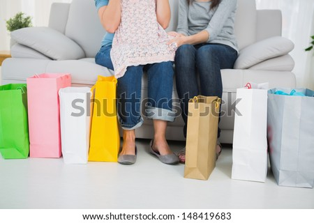 Series of colorful shopping bags and women sitting on the sofa - stock photo