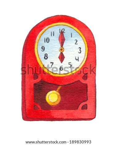 Series of colorful watercolors. Wall clock isolated on white background. Six o'clock - stock photo