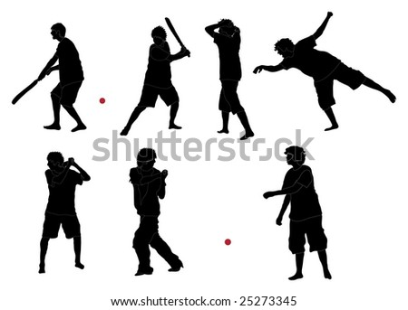 Series of Cricket silhouettes (detailed) - stock photo