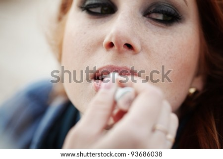 Series of doing fashion makeup - stock photo