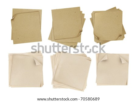 series of note paper over white background - stock photo