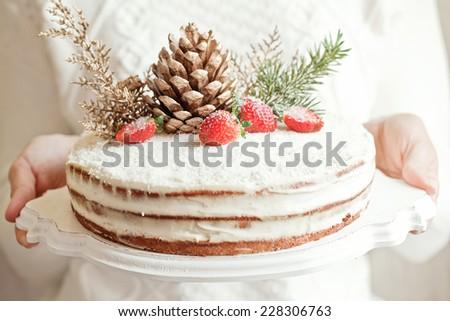 series of winter xmas coconut cake.  - stock photo