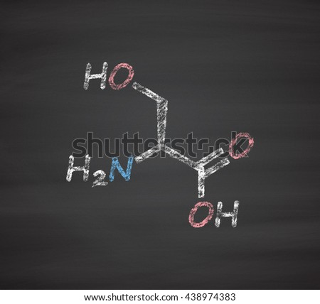 Serine (l-serine, Ser, S) amino acid molecule. Chalk on blackboard style illustration. - stock photo