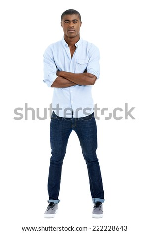 serious african man with arms crossed - stock photo