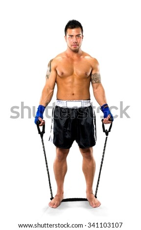 Serious Asian man with short black hair in athletic costume using prop - Isolated - stock photo