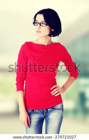 Serious beautiful casual woman portrait - stock photo