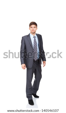 serious business man go walk making step up, businessman wear elegant suit and tie full length portrait isolated over white background - stock photo