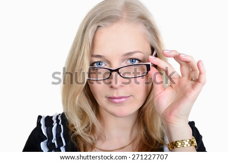 Serious business woman in glasses on the white background. 