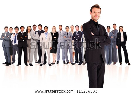 Serious businessman crossing his arms against a white background - stock photo