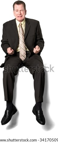 Serious Caucasian elderly man with short medium brown hair in business formal outfit crying - Isolated - stock photo