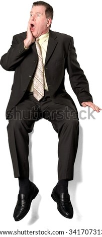 Serious Caucasian elderly man with short medium brown hair in business formal outfit with hands on face - Isolated - stock photo