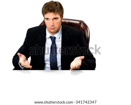 Serious Caucasian man with short medium blond hair in business formal outfit with hands open - Isolated - stock photo
