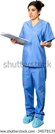 Serious Caucasian young woman dark brown in uniform holding pen - Isolated - stock photo