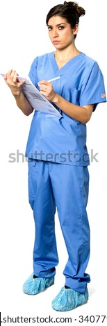 Serious Caucasian young woman dark brown in uniform using pen - Isolated - stock photo