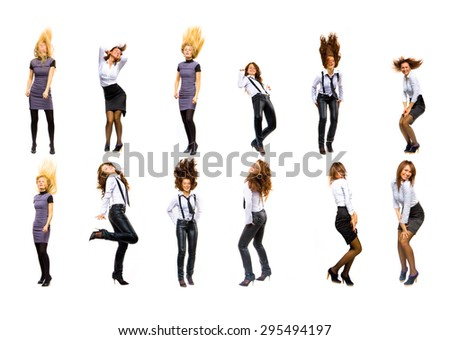SERIOUS FUN Concept Dancing Together  - stock photo
