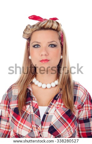 Serious girl with blue eyes in pinup style isolated on a white background - stock photo