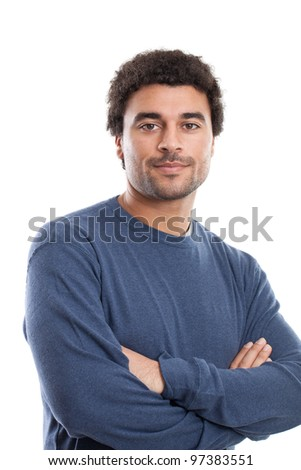 Serious handsome Middle Eastern man portrait isolated on white - stock photo